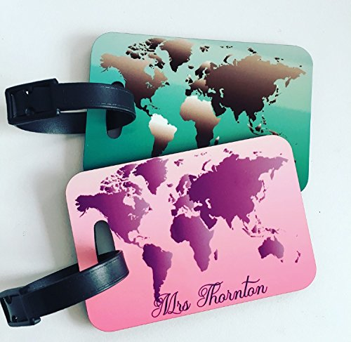 World Map Couples' Personalised Luggage Tag for suitcases