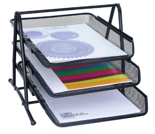 Wedo 65801 Briefablage Office (aus Drahtmetall, 3 Fächer, passend bis C4-Format, 35 x 30 x 27 cm) schwarz