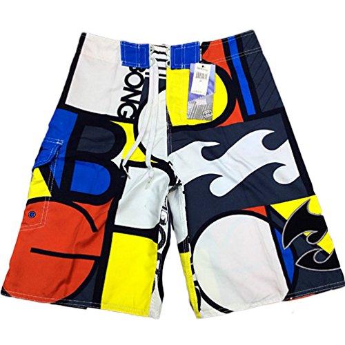 Baymate Hommes Short De Bain Lettre Imprimé Boardshorts Pantalon Court De Plage Rouge