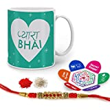 Indigifts Rakshabandhan Gifts For Brother Pyara Bhai Quote Printed Gift Set Of Mug 330 Ml, Crystal Rakhi For Brother, Chawal, Tika & Greeting Card - Raksha Bandhan Gifts, Best Rakhi Gifts For Brother, Rakhi For Brother With Gifts
