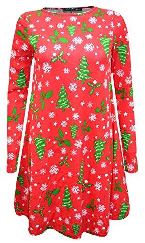Neue Damen Santa Hüte Weihnachts Schneemann Weihnachten lange Ärmel Swing Kleid Größe 8–26 Gr. XX-Large/XX-Large 50-52, Red Green Christmas (Green Hut Santa)