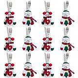 Gudotra 12pcs Bolsa para Cubiertos Navidad Cubiertos Tenedores Bolsas para Decoración Navidad Mesa (Monigote de Nieve)