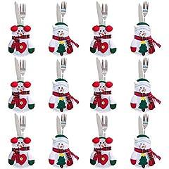 Idea Regalo - Gudotra 12pz Set Portaposate Natalizie da Babbo Natale Tasche Posate per Forchetta Cucchiaio Decorazione della Tavolo di Natale (Stile-1)