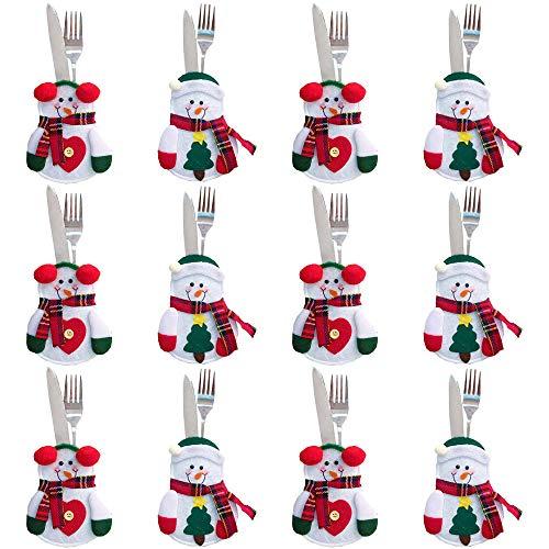 Gudotra 12pz Set Portaposate Natalizie da Babbo Natale Tasche Posate per Forchetta Cucchiaio Decorazione della Tavolo di Natale (Stile-1)