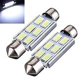 AUDEW 2 X Canbus Dome Festoon 42MM 6 LED 5630 SMD C5W Voiture Ampoule 211-2 578 212-2 DC 12V Blanc Pur 6000K