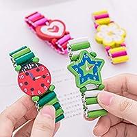 wiFndTu Colorful Heart Star Flower Kids Wooden Bracelet Watch Elastic Wristband Toy - Random Color Random Style*