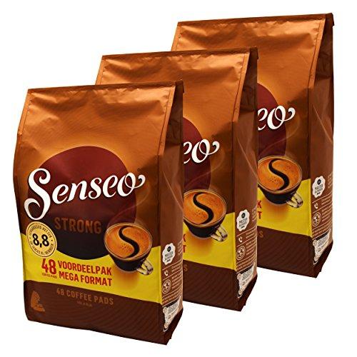 Senseo Kaffeepads Strong / Kräftig, 3er Pack, Kraftvoller Geschmack, Kaffee, 144 Pads