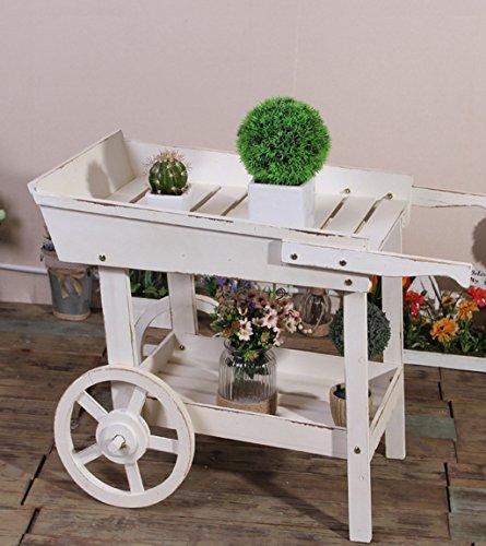 ZENGAI Chariot à fleurs Chaise à bois massif Chêne à fleurs Porte-grenier Maison à fleurs Maison à décoration Cadre blanc Présentoir intérieur Bonsai Cadre 60 * 41 * 81cm