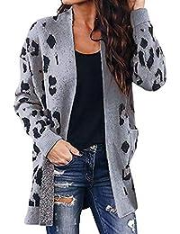 Damen Leopard Cardigan Leomuster Strickjacke Leoparden Leo Print Lang Coat Elegant Mantel Vintage Lässig Offene Jacke Frauen Casual Wrap Trenchcoat Outwear S-2xl Oversize Grau Khaki