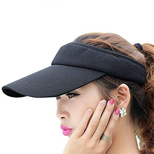 Fasbys Summer Outdoor Sports Beathable Long Brim Empty Top Baseball Sun Cap Hat Visor (Black) Damen-tennis Visor