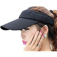 Fasbys Multiple Colors Sun Visors for Women and Men, Long Brim Thicker Sweatband Adjustable Hat for Golf Cycling Fishing Tennis Running Jogging and other Sports (Black)