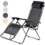 Charles Jacobs Deluxe Zero Gravity Foldable Reclining Chair Outdoor Garden Patio Sun Lounger with...