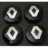 x4 57 mm Alloy ruedas Buje Center tapas Renault Negro/Chrome Logo Juego cuatro