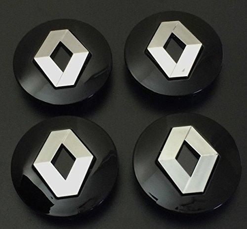Lot de 4 capuchons d'enjoliveur en alliage noir chromé - 57 mm - Avec logo Renault