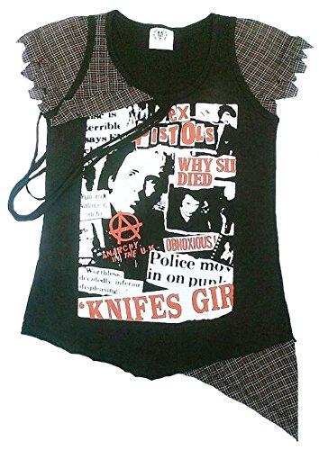 Rockabilly Punk Rock Baby Damen Tank T-Shirt Schwarz Schotten Muster Emo Boho Desinger Fashion M 38 (Punk-baby-t-shirts)