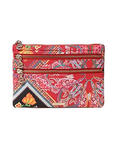Desigual wallet folklore cards multizip women - portafogli donna, rosso (rojo contra), 1x15.5x22.5 cm (b x h t)