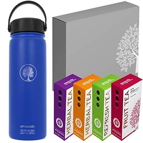 4388d089a52a0c amapodo, borraccia da 600 ml, set regalo per tè sano, bottiglia per acqua