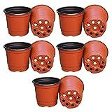 Gosear 10Pcs En plastique Fleur Pots de Jardinières Double Couleur Jardin Plante Pépinière Pots de Conteneur pour De plus en plus Fines herbes Plus petit Annuel Légumes