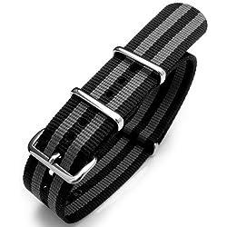18mm G10 Nato James Bond Nylon Strap Polished Buckle - NYJ Double Black & Grey