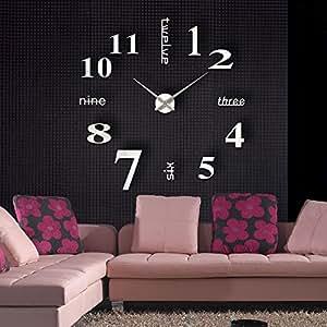 Anself amovible horloge murale moderne mur loisirs grosse for Grosse horloge murale moderne