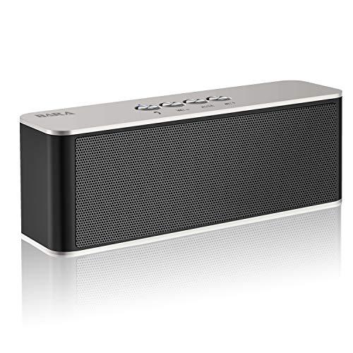 Bluetooth Lautsprecher, BARA S5 Outdoor Tragbarer Lautsprecher, Bluetooth 4.2 soundbox, Starkem Bass, eingebautem Dual-Treiber, Bluetooth Speaker für iPhone, iPad, Samsung (Silber)