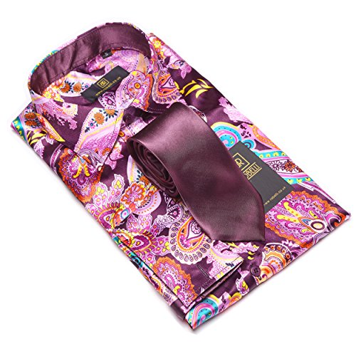 Herren lässig elegant Baumwolle/Satin langärmlig Hemd & Krawatte Satz Sammlung Pink / Purple Paisley No. 4