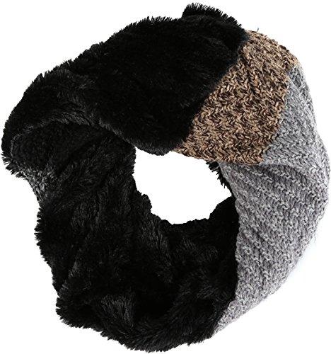 Sakkas Julie Court Wrap Around Two Sided Faux Fur And côtelé Knit Infinity Scarf Gris Noir