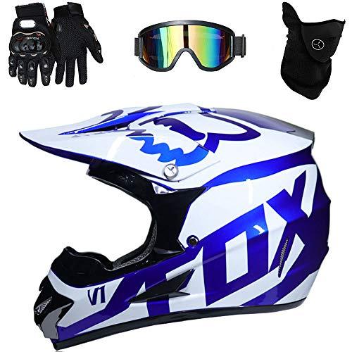 Moto Casco Cross Country D. O. T Certificazione Endurance Race ATV ATV Casco, Casco di Sicurezza Stereo Traspirante Include Occhiali/Guanti/Maschera,D,XL(58~59cm)