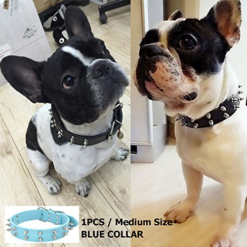 RAINSGIFT Collar de piel sintética para perro, tamaño mediano, diseño de perro bulldog/cachorro/labrador/pastor alemán