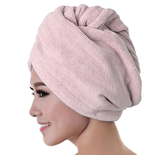 Transer Microfiber Bath Towel Hair Dry Hat,Quick Drying Lady Bath Tool Hair Accessory Headband Cap (Pink)
