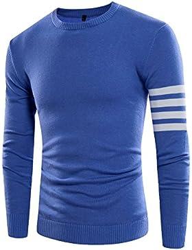 Uomini maglione di lana striped casual abbigliamento invernale Sau colletto circolare, blu serie L