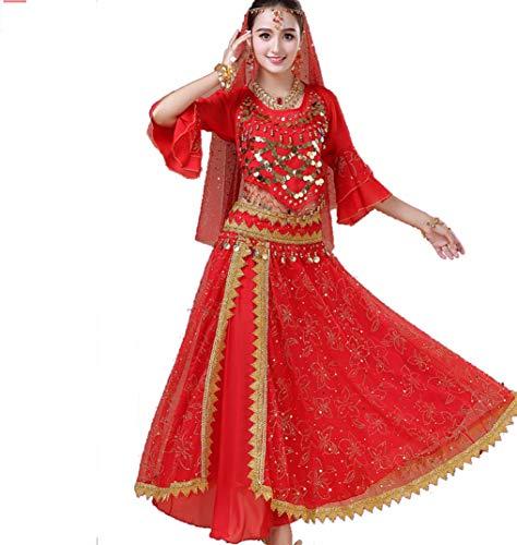 ZYLL Weiblicher Erwachsener Indischer Tanz Set Bauchtanz Performance Kleidung Bollywood Tänzer Erwachsene Kleidung (6er - Weibliche Zigeuner Kostüm