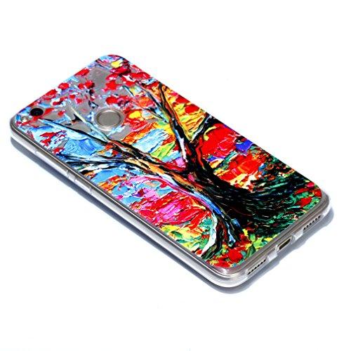 SZHTSWU® Hülle für iPhone 5 / 5s / 5SE, Ultra Slim Thin Weiche TPU Ultradünn Soft Silikon Schutzhülle Case Transparent Clear Flexible Rückschale Back Cover Etui Handy Hülle Bumper Abdeckung für Apple  Farbige Bäume