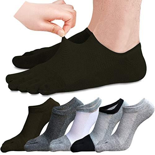 MOAMUN 5 Pares Calcetines Del Dedo Del Pie De Los Hombres De Algodón De Corte Bajo Liner Calcetines5 Calcetines Del Dedo Para Los Hombres Transpirables Y Suaves (mezcla)