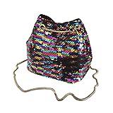VENMO Frauen Mädchen Mode Umhängetasche Pailletten Beuteltasche Bag Handtasche mit Pailletten Streifen Schultertasche Tasche Umhängetasche Henkeltasche Handtasche Leichte Schultertasche (Multicolor)
