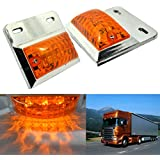 Hrph 1 Pair New 16 LEDs Chrome Plated Side Marker & Clearance Lights Tailer Truck Lamps 24V Yellow