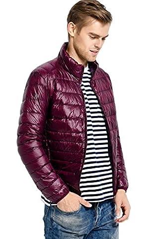 La Vogue Homme Doudoune Courte Sans Chapeau Manche Longue Zip Veste Manteau Blouson Léger Hiver Rouge Size4