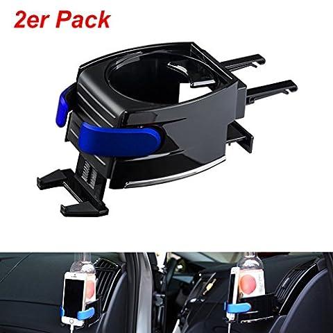 2 Stücke Universal KFZ Auto Getränkehalter 2 in 1 Flaschenhalter Kaffee Handy Halterung Lüftung für BMW AUDI VW
