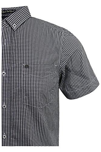 Tokyo Laundry Herren Freizeit-Hemd Black Gingham Check