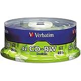 Verbatim 95169 CD-RW Discs, 700MB/80min, 4X, Spindle, Matte Silver, 25/Pack