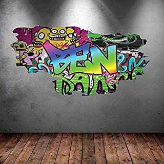 Wall Smart Designs FULL COLOUR PERSONALISED 3D STREET GRAFFITI NAME CRACKED WALL ART STICKERS DECALS MURAL GRAPHICS PRINT