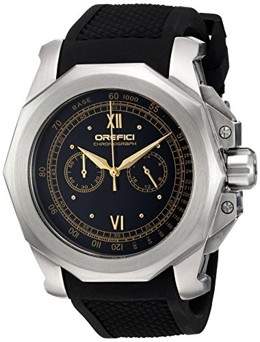 Orefici Quartz Stainless Steel and Rubber Casual Watch, Color:Black (Model: ORM2C4883)