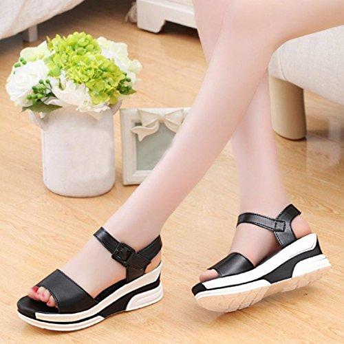 HCFKJ 2017 Mode Frauen Sommer Sandalen Schuhe Peep-Toe Low Shoes Roman Sandalen Ladies Flip Flops Schwarz