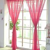 "yunt transparente cortinas SHEER ojal ventana Cortinas translúcidas Valance para dormitorio sala de estar 100x 200cm/39.3""x78.7"", poliéster, Hotpink, 2 unidades"