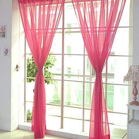 Yunt transparente Vorhänge Sheer Tülle Fenster Vorhänge, Gardinen Querbehang für Schlafzimmer Wohnzimmer 100 x 200 cm, Polyester, hot pink, 1 Stück