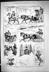 Copie Antique des Chevaux 1881 de Hyde Park de Chasse-neige de Glace de Londres de West End