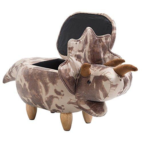 JUNDENGZI Massivholz Fußbank Sofa Hocker Lagerung Hocker Test Schuh Hocker Kreative Möbel Dinosaurier Modell Bronzing Leder Piebald 102x35x37cm (Farbe : Can be stored) (Leder Eiche Sofa)