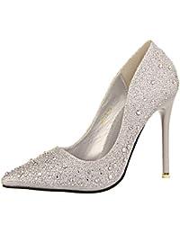 oaleen escarpins femme bout pointu strass soire mariage chaussures talon haut aiguille - Escarpin Argent Mariage