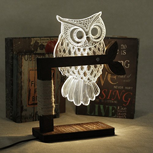 LED Dimmbar CITTATREND Tischleuchte - 3D Visual Acryl Eule Deco Holz Nachttischlampe - Warmweiß Nachtlicht - Geschenk…