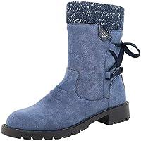 ღLILICATღ Botas de Mujer Otoño Invierno 2019 Tacon Bajo Zapatos Largas Botas Forrado de Piel Antideslizante Cómodo Cremallera con Cordones,35-43